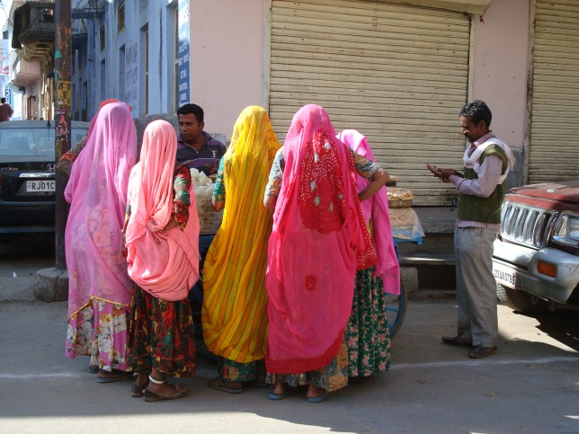 Marwadi ladies buying stuff needed for the pilgrimage and dip in holy Pushkar Lake
